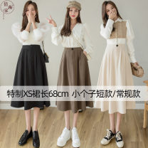 skirt Summer 2021 XS,S,M,L Black, apricot, coffee, black regular 75cm, apricot regular 75cm, coffee regular 75cm Mid length dress commute High waist A-line skirt Solid color Type A 25-29 years old 51% (inclusive) - 70% (inclusive) other Pocket, button Korean version