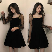 Dress Autumn of 2019 black S,M,L,XL Middle-skirt Long sleeves One word collar middle-waisted routine Others