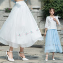 skirt Summer of 2019 L,XL White, light blue longuette commute A-line skirt Solid color Type A 6133# Chiffon ethnic style