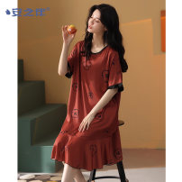 Nightdress A good companion D13051 M L XL XXL Sweet Short sleeve Leisure home Short skirt summer youth Crew neck Polyester (polyester) printing More than 95% Iced silk D13051 Summer 2021 Polyester 96% polyurethane elastic fiber (spandex) 4% Pure e-commerce (online only)