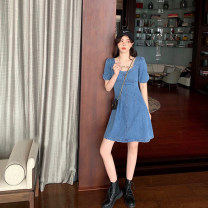 Dress Summer 2020 Blue, haze blue S,M,L,XL singleton  Short sleeve commute square neck High waist A-line skirt puff sleeve 18-24 years old Type A Other / other Korean version 30% and below other other