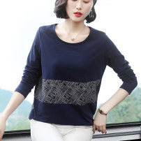 T-shirt Navy, rust red M,L,XL,2XL,3XL,4XL Autumn of 2019 Long sleeves Crew neck easy Regular routine commute cotton 86% (inclusive) -95% (inclusive) 30-39 years old Korean version Splicing