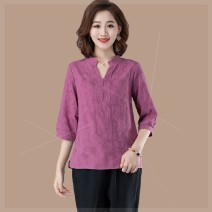 Women's large Summer 2021 Red, purple Large XL, large XXL, large XXL, large XXXXL, large L, large M shirt singleton  commute easy moderate Socket Short sleeve Solid color V-neck routine Cotton, hemp Three dimensional cutting routine zh3 Plain wood 35-39 years old 81% (inclusive) - 90% (inclusive)