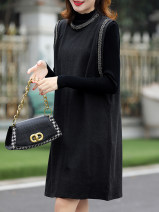 Dress Spring 2021 black M,L,XL,2XL Mid length dress Two piece set Long sleeves commute Crew neck Socket A-line skirt routine Others 25-29 years old Type H Clothing music Ol style 51% (inclusive) - 70% (inclusive) other cotton