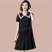 Women's large Summer 2020 black Large XL, large XXL, large XXL, large XXXXL, large XXXXL Dress singleton  commute Straight cylinder moderate Socket Short sleeve Solid color other polyester Three dimensional cutting routine y2n Plain wood 35-39 years old Lace stitching other