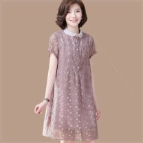Women's large Summer of 2019 Purple Big size XXXXL, big size XXXL, big size XXL, big size XL, big size L, M Dress singleton  easy moderate Cardigan Short sleeve Solid color polyester fiber Three dimensional cutting l3k Clothing music 71% (inclusive) - 80% (inclusive) Medium length