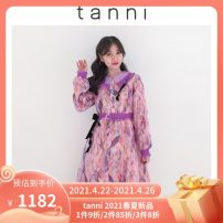 Dress Spring 2021 violet 160/36 165/38 170/40 Mid length dress singleton  Long sleeves Sweet Polo collar High waist Decor puff sleeve 25-29 years old tanni TK11DR165A More than 95% polyester fiber Polyester 100% Same model in shopping mall (sold online and offline)