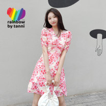 Dress Summer 2021 Decor 160/36 165/38 Mid length dress singleton  Short sleeve commute V-neck High waist Decor Socket A-line skirt routine 25-29 years old Type A tanni printing RK11DR908A More than 95% Chiffon polyester fiber Polyester 100% Pure e-commerce (online only)