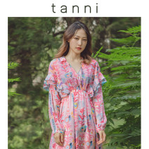Dress Spring of 2019 Pink pink 1 Pink 2 Pink 3 S/36 M/38 L/40 Mid length dress Long sleeves Sweet 25-29 years old tanni printing TI11DR170A More than 95% polyester fiber Polyester 100% Ruili Same model in shopping mall (sold online and offline)