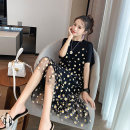 Dress Other / other White, black M,L,XL,XXL Korean version Short sleeve Medium length summer Crew neck Decor [milk silk mesh]