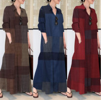 Dress Summer 2021 Red, brown, navy S,M,L,XL,4XL,5XL,XXL,XXXL longuette singleton  Long sleeves commute middle-waisted lattice Single breasted Big swing Others cotton
