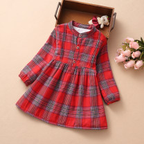Dress Light red plaid with velvet in winter, light red plaid in spring and autumn single layer, yellow plaid in spring and autumn single layer female Other / other Other 100% cotton Splicing style 2 years old, 3 years old, 4 years old, 5 years old, 6 years old