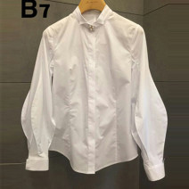 shirt white S,M,L,XL Spring 2021 other 81% (inclusive) - 90% (inclusive) Long sleeves commute Regular Polo collar Single row multi button bishop sleeve Solid color 18-24 years old Straight cylinder Korean version Beads, buttons cotton