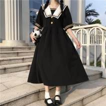 Dress Summer 2021 black S,M,L,XL Mid length dress singleton  Short sleeve Sweet Admiral Solid color Single breasted A-line skirt routine 18-24 years old Bowknot, stitching 91% (inclusive) - 95% (inclusive) polyester fiber solar system