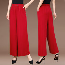 Casual pants White, black, coffee, dark green, jujube, color 1, color 2, color 3, color 4, color 5, color 6, color 7, color 8, color 9, color 10, color 11, color 12 XL,2XL,3XL,4XL Summer 2021 Ninth pants Wide leg pants High waist commute Thin money Gold 603 Other / other belt