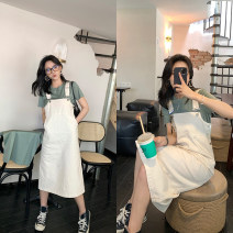 Dress Summer 2021 Off white, black grey, dark blue S,M,L,XL longuette singleton  Sleeveless commute square neck High waist Solid color Socket A-line skirt routine Type A Button, stitching 91% (inclusive) - 95% (inclusive) other cotton