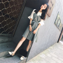 Women's large Summer of 2018 As shown in the picture M [recommended 80-100 Jin], l [recommended 100-120 Jin], XL [120-140 Jin], 2XL [140-160 Jin recommended], 3XL [160-180 Jin recommended], 4XL [180-200 Jin recommended] Dress Fake two pieces commute easy thin Socket Short sleeve Korean version belt
