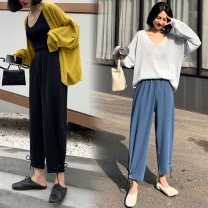Women's large Summer of 2019, spring of 2019, autumn of 2019 Blue, black L [95-120 Jin], XL [120-140 Jin], 2XL [140-160 Jin], 3XL [160-180 Jin], 4XL [180-200 Jin] trousers singleton  commute easy moderate Solid color, others Korean version Polyester, polyester, nylon 18-24 years old Ninth pants