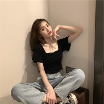 Women's large Summer 2020 Knitwear / cardigan singleton  commute Self cultivation thin Socket Short sleeve Solid color Korean version square neck have cash less than that is registered in the accounts Polyester, polyester, cotton fold Wrap sleeves 18-24 years old backless