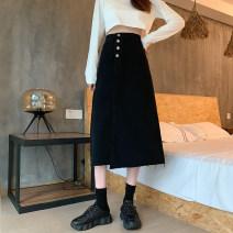 skirt Autumn 2020 S,M,L,XL Black, light blue, black + belt, light blue + belt, black 655 Mid length dress commute High waist Irregular Solid color Type A 18-24 years old 30% and below other Asymmetry, button Korean version