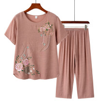 Middle aged and old women's wear Summer 2020 commute suit easy Two piece set Over 60 years old Socket thin Crew neck routine other Hemp, cotton 91% (inclusive) - 95% (inclusive) Ninth pants Simplicity