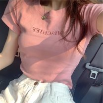 T-shirt 340h pink, 340h white, 340h red, 340h black, 271 * BLACK M,L,XL,2XL Summer 2021 Short sleeve Crew neck Self cultivation routine commute polyester fiber 96% and above 18-24 years old Korean version originality letter Embroidery