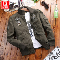 Jacket Jeep shield other M L XL 2XL 3XL 4XL thick standard Other leisure spring Cotton 100% Long sleeves Wear out Lapel Basic public youth routine Zipper placket Cloth hem washing Fall 2017 Rib bottom pendulum Side seam pocket Pure e-commerce (online only) cotton More than 95%