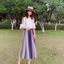 Dress Summer 2021 Picture color S,M,L,XL Mid length dress Two piece set Short sleeve Sweet Crew neck High waist Decor Socket Others Type A Lace up, stitching, bandage, print 81% (inclusive) - 90% (inclusive) Chiffon Bohemia