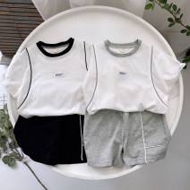 suit Other / other Gray, black 100cm [tag 5], 110cm [tag 7], 120cm [tag 9], 130cm [tag 11], 140cm [tag 13] male summer leisure time Short sleeve + pants 4 pieces or more routine No model Socket nothing Solid color cotton children Class B Cotton 100% Two, three, four, five, six, seven, eight, nine