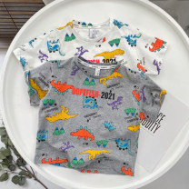 T-shirt Grey, white Other / other 100cm [tag 5], 110cm [tag 7], 120cm [tag 9], 130cm [tag 11], 140cm [tag 13] male summer Short sleeve Crew neck leisure time No model nothing cotton dinosaur Cotton 95% polyurethane elastic fiber (spandex) 5% Class B Sweat absorption