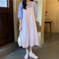 Fashion suit Summer 2021 Average size Blue Plaid top, Black Plaid top, white suspender skirt, black suspender skirt 18-25 years old 81% (inclusive) - 90% (inclusive)