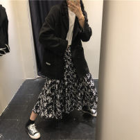 Fashion suit Autumn 2020 Average size Suit jacket, floral skirt 18-25 years old 96% and above nylon