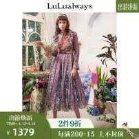 Dress Spring 2020 orange 155/80A/S,160/84A/M,165/88A/L,170/92A/XL longuette Long sleeves commute Crew neck High waist Broken flowers Socket A-line skirt pagoda sleeve Others 25-29 years old lulualways Retro LLA5017 More than 95% polyester fiber