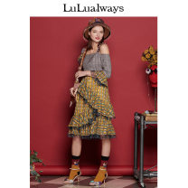 Dress Spring of 2019 yellow 155/80A/S,160/84A/M,165/88A/L Mid length dress 25-29 years old lulualways More than 95% polyester fiber