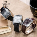 Wristwatch Synthetic sapphire crystal Genuine Leather Stainless steel 35mm Shop warranty PATTOUS male Quartz movement domestic 5ATM 10mm fashion Square