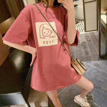 Pajama Top female Other / other M [recommended 80-100 kg], l [recommended 100-120 kg], XL [recommended 120-140 kg], XXL [recommended 140-160 kg] Pink-1015, white-1015, pink-1016, black-1016, white-1016 Short sleeve Sweet youth Leisure home summer Thin money Crew neck Cartoon animation Socket cotton