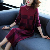 Dress Winter 2020 claret M,L,XL,2XL,3XL,XXL Mid length dress singleton  Long sleeves commute Crew neck Loose waist Solid color Socket A-line skirt routine Others 40-49 years old Type A Mo Mian Korean version 30% and below knitting wool