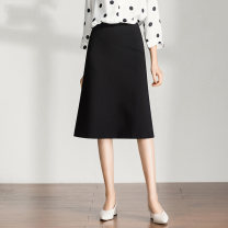 skirt Spring 2021 26 (1'9), 27 (2 feet), 28 (2 feet 1), 29 (2 feet 2), 30 (2 feet 3), 31 (2 feet 4), 32 (2 feet 5), 33 (2 feet 6) black Middle-skirt commute High waist A-line skirt other Type A 25-29 years old Yashcheng Ol style