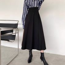 skirt Winter of 2019 Average size Black (large waistline), custom fabric for autumn and winter longuette commute High waist Umbrella skirt Solid color Type A 18-24 years old 19-299 Wool polyester fiber Asymmetry, wave Retro