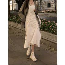 Women's large Spring 2021 White, black M [80-100 Jin], l [100-120 Jin], XL [120-140 Jin], 2XL [140-160 Jin], 3XL [160-180 Jin], 4XL [180-200 Jin] Dress singleton  commute moderate Socket Sleeveless Retro Medium length five one three five Medium length Irregular skirt