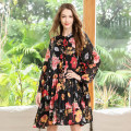 Women's large Spring 2021 Big size average Dress singleton  commute easy thin Socket Long sleeves Korean version Crew neck Medium length other fold routine Oulun Miaoyu 40-49 years old Bright silk 96% and above Middle-skirt Pleated skirt Three buttons