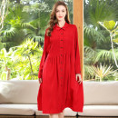 Women's large Spring 2021 Red, black Big size average shirt singleton  street easy thin Cardigan Long sleeves Solid color Polo collar Medium length cotton fold routine Oulun Miaoyu 40-49 years old wave 96% and above Europe and America