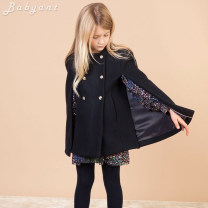 woolen coat dark blue 100cm(3A),105cm(4A),110cm(5A),120cm(6A),130cm(8A),140cm(10A),150cm(12A),160cm(S),165cm(M) female Jeux d'enfants Wool No model nothing Europe and America thickening spring and autumn double-breasted Wool 100% Solid color Crew neck Class B Polyester 100% Cotton liner