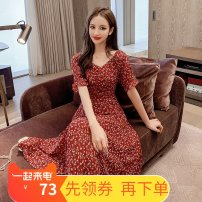 Dress Summer 2021 Apricot, red S,M,L,XL longuette singleton  Short sleeve street V-neck High waist Broken flowers Socket other routine Others 25-29 years old Type X fold 81% (inclusive) - 90% (inclusive) other nylon