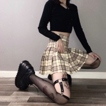 skirt Summer 2020 S,M,L Yellow, orange Short skirt Versatile High waist Pleated skirt lattice Type A 18-24 years old 91% (inclusive) - 95% (inclusive) other cotton