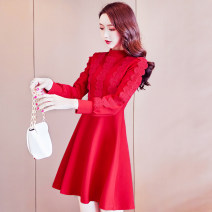Dress Winter of 2019 Red, black, red small, elegant black S,M,L,XL Short skirt singleton  Long sleeves commute Crew neck High waist Solid color zipper Ruffle Skirt bishop sleeve Others 25-29 years old Type A Misogh Korean version CQZ1999017 More than 95%