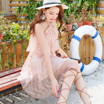 Dress Summer of 2018 Pink XS,S,M,L,XL Short skirt singleton  Short sleeve commute One word collar Elastic waist other zipper other Lotus leaf sleeve Hanging neck style 18-24 years old Type A Misogh Korean version Embroidery, fold CQZ181848 More than 95% other other