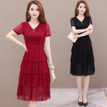 Dress Summer 2021 Red, black, red B03, blue B03, black B03 L,XL,2XL,3XL,4XL,5XL Mid length dress Fake two pieces Short sleeve commute Crew neck middle-waisted Solid color Socket Cake skirt routine Others 30-34 years old Type A Simplicity 71% (inclusive) - 80% (inclusive) Lace polyester fiber