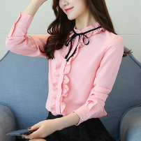 Lace / Chiffon Spring 2021 White, red, black, pink, khaki, bright yellow S,M,L,XL,2XL,3XL Long sleeves commute Cardigan singleton  Self cultivation Regular Lotus leaf collar Solid color shirt sleeve 25-29 years old Other / other Bow tie Korean version 96% and above polyester fiber