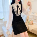 Dress Spring 2021 black S,M,L Short skirt singleton  Long sleeves commute Doll Collar High waist Solid color Socket A-line skirt routine Others 18-24 years old Type A Korean version Bowknot, lace, stitching, bandage, zipper, lace 51% (inclusive) - 70% (inclusive) Chiffon polyester fiber